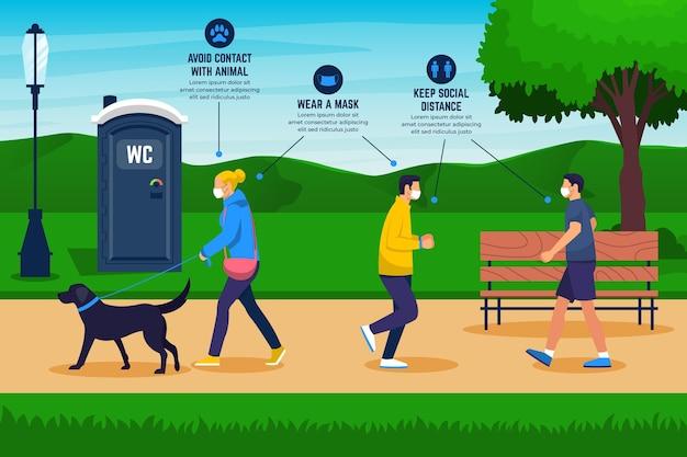 Pessoas no parque com medidas de proteção Vetor grátis