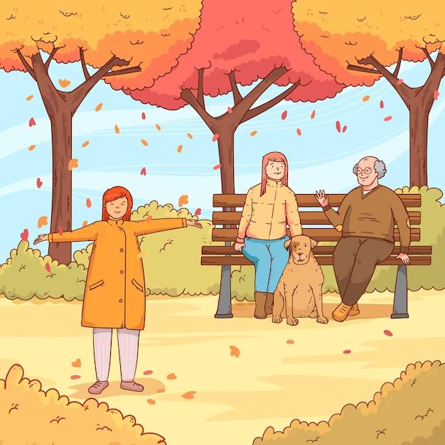 Pessoas no parque outono com cachorro Vetor grátis