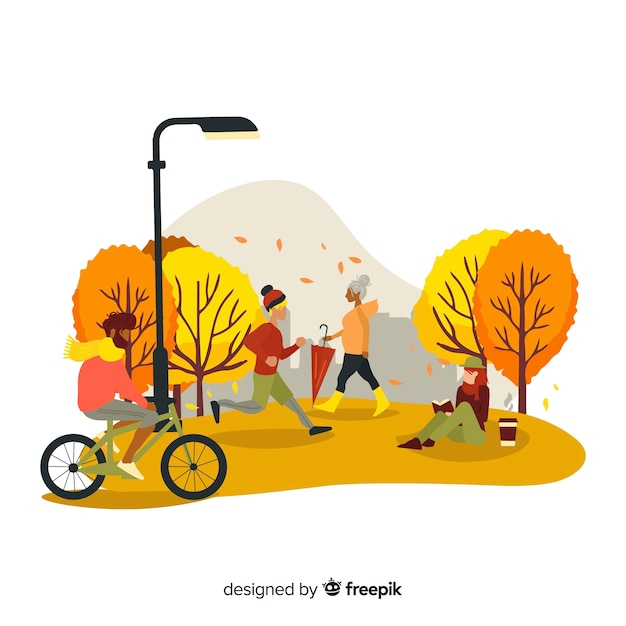 Pessoas no parque outono Vetor grátis