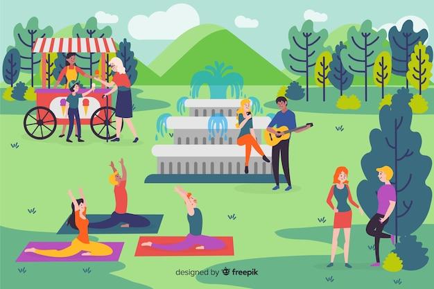 Pessoas no parque Vetor grátis