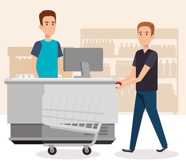 Pessoas no ponto de pagamento de supermercado Vetor Premium