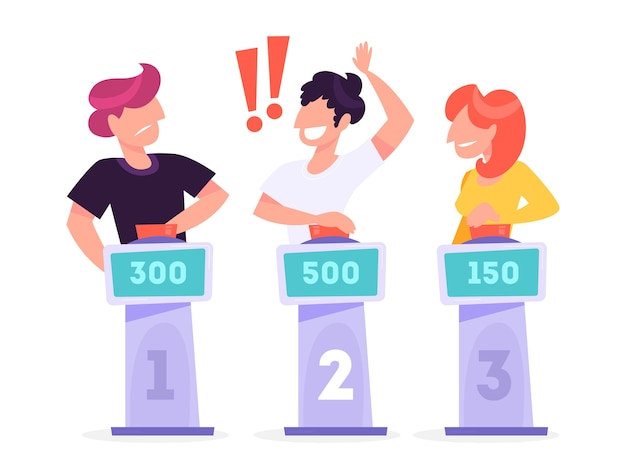 Pessoas no programa de perguntas da tv. homem com a maior pontuação Vetor Premium