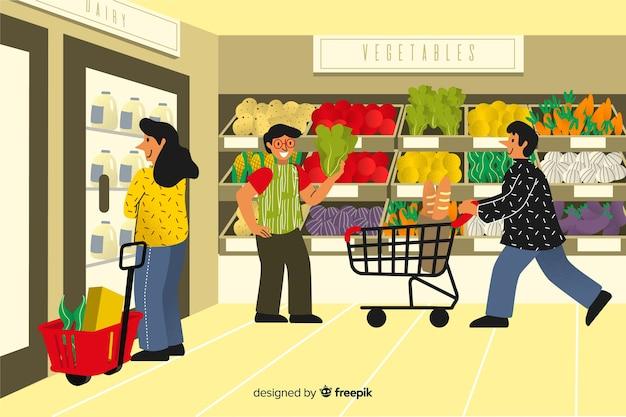 Pessoas no supermercado Vetor grátis