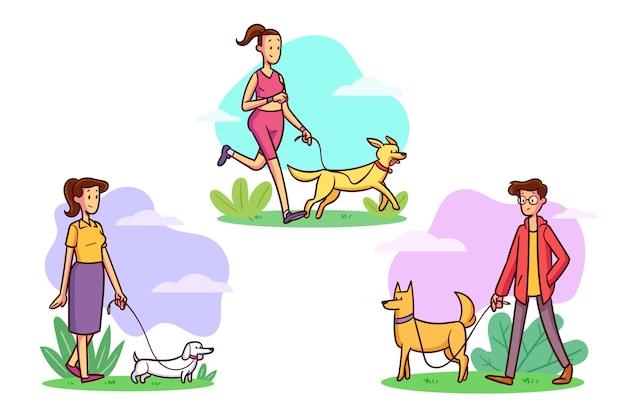 Pessoas passeando com a coleção de cães Vetor grátis