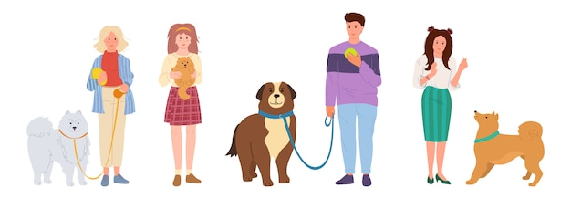 Pessoas passeando com cachorros. conjunto de animais de estimação bonito dos desenhos animados. garota e cara brincando com cachorro. pastor e rouco, spitz. isolado na ilustração de fundo branco Vetor Premium