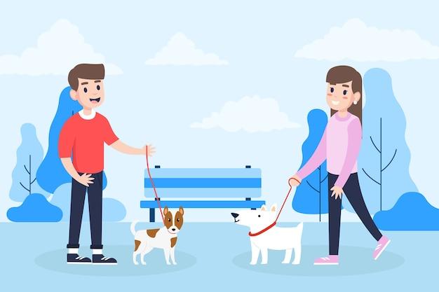Pessoas passeando com cães no parque Vetor grátis
