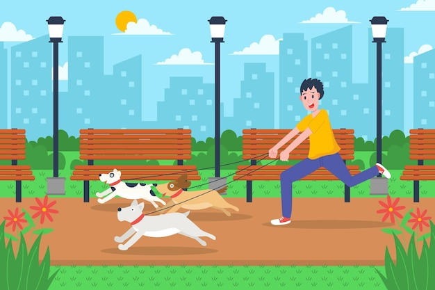 Pessoas passeando com o cachorro ilustração design Vetor grátis