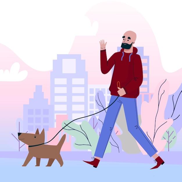 Pessoas passeando com o cachorro Vetor grátis