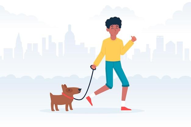 Pessoas passeando com o conceito de cachorro Vetor grátis