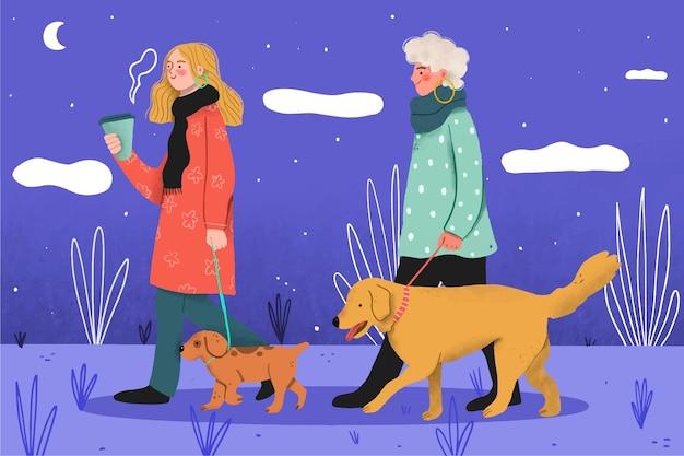 Pessoas passeando com o conceito de cachorro Vetor Premium