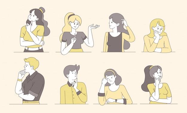 Pessoas pensativas e pensativas cartum ilustrações vetoriais. rapazes e garotas pensando, mulheres pensativas e intrigadas, homens com rostos inseguros. caracteres de contorno isolados femininos e masculinos, procurando a solução Vetor Premium