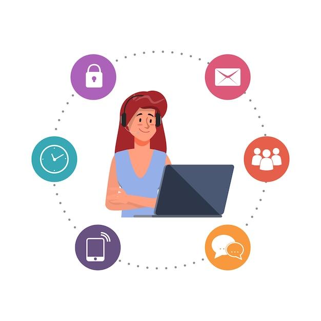 Pessoas personagem trabalhando com um laptop e call center personagem ilustração em vetor plana. Vetor Premium