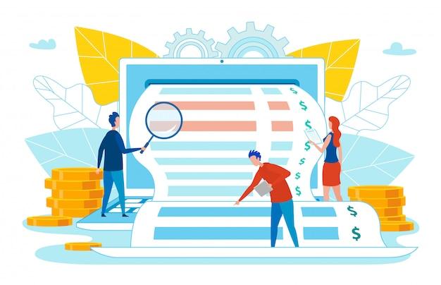 Pessoas pesquisando ou verificação de recebimento de negócios. Vetor Premium