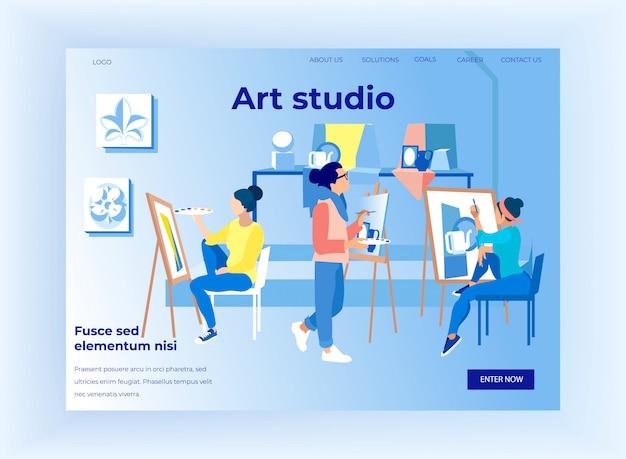 Pessoas, pintura, lona, durante, masterclass Vetor Premium
