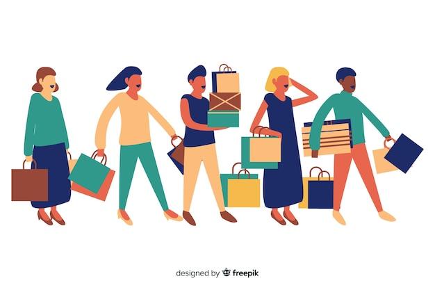 Pessoas planas carregando sacolas de compras Vetor grátis