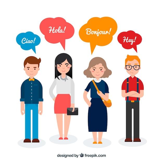 Pessoas planas com palavras em diferentes idiomas Vetor grátis