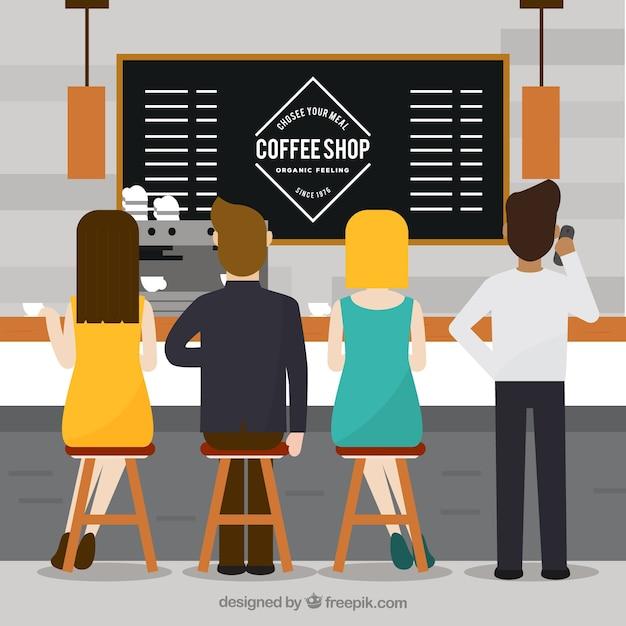 Pessoas planas em uma cafeteria Vetor grátis