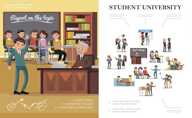 Pessoas planas na composição colorida de universidade com pessoas alegres em várias situações Vetor grátis