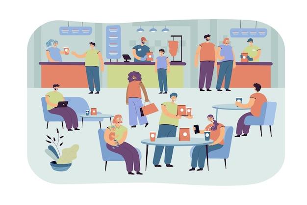 Pessoas positivas comendo no café isolado ilustração plana. personagens de desenhos animados almoçando em praça de alimentação Vetor grátis
