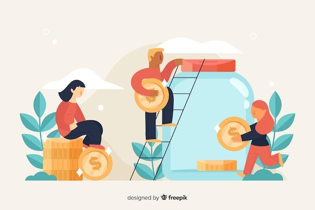 Pessoas, poupar, dinheiro, fundo Vetor grátis