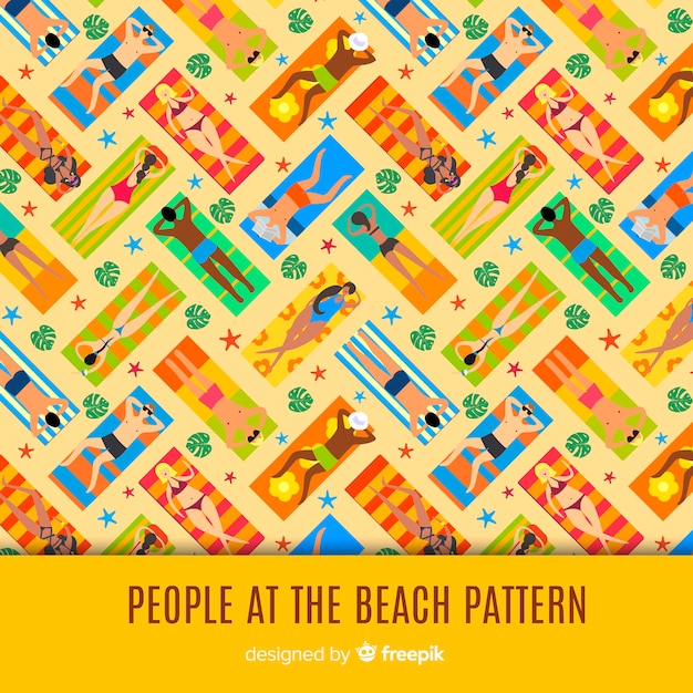 Pessoas, praia, padrão Vetor grátis