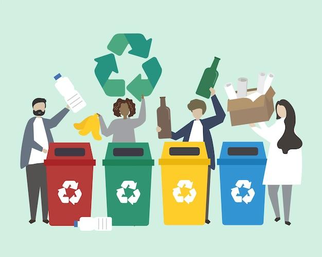 Pessoas que classificam o lixo em ilustração de lixeiras Vetor grátis