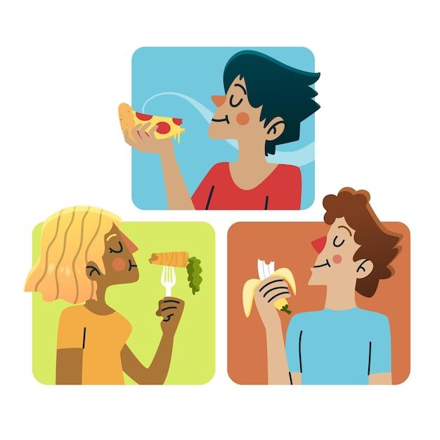 Pessoas que comem comida saudável e lixo Vetor grátis