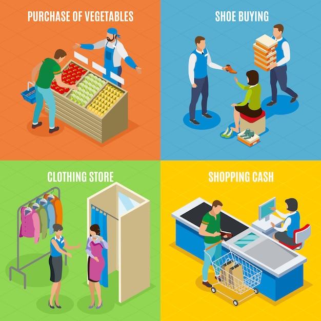 Pessoas que compram, compra de legumes, sapatos, caixa de loja Vetor grátis
