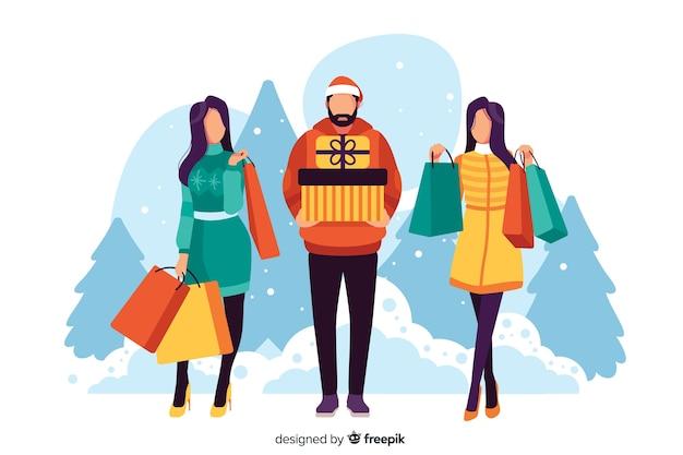 Pessoas que compram presentes de natal ilustrados Vetor grátis