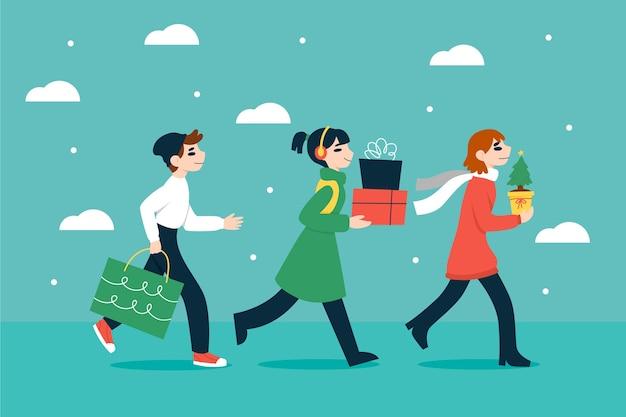 Pessoas que compram presentes de natal Vetor grátis