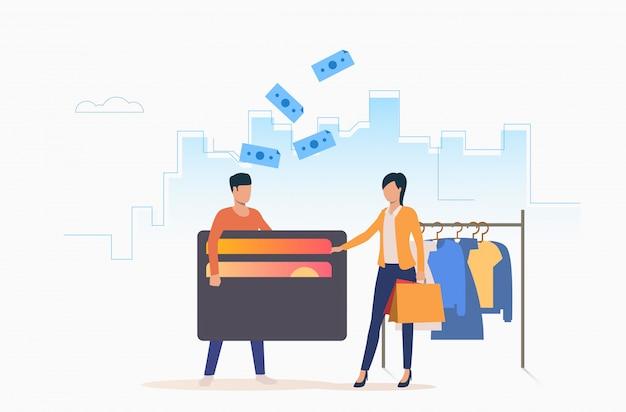 Pessoas que compram roupas com cartão de crédito Vetor grátis