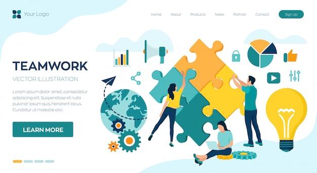 Pessoas que conectam elementos de quebra-cabeça landing page Vetor Premium