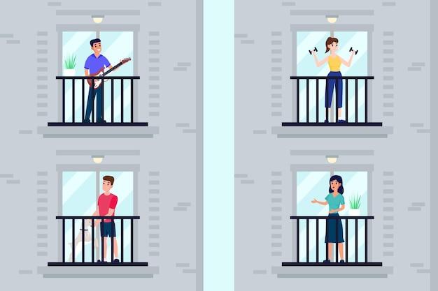 Pessoas que fazem atividades de lazer na varanda Vetor grátis