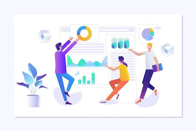 Pessoas que fazem o design de página da web para o site Vetor Premium