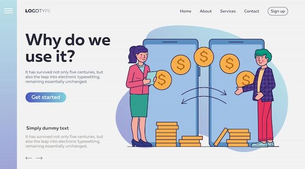 Pessoas que fazem transações financeiras via aplicativo móvel Vetor grátis