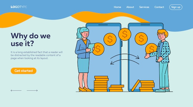 Pessoas que fazem transações financeiras via modelo de página de destino de aplicativos para dispositivos móveis Vetor grátis