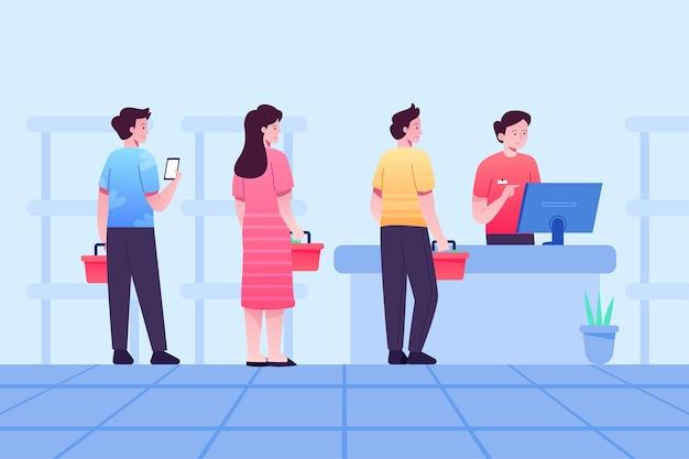 Pessoas que ficam em uma fila no supermercado enquanto se distanciam socialmente Vetor Premium