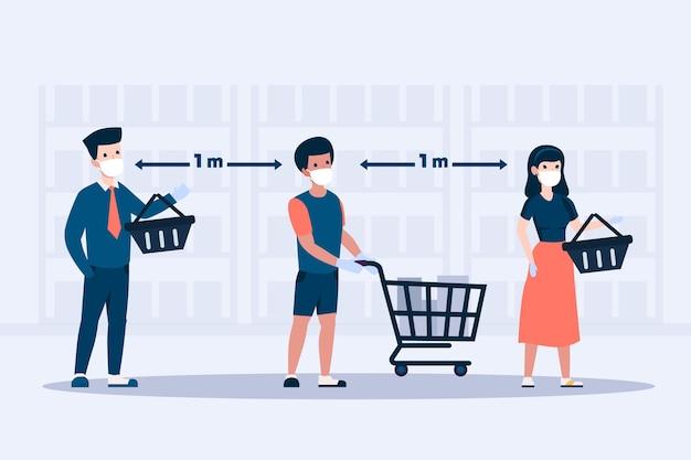 Pessoas que ficam em uma fila no supermercado ilustrado Vetor grátis