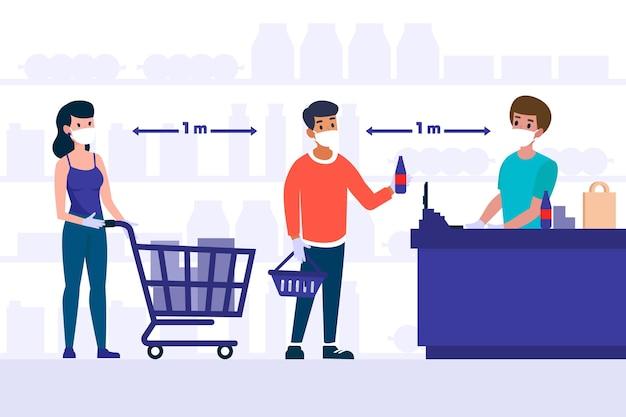 Pessoas que ficam em uma fila no supermercado, mantendo distância Vetor grátis