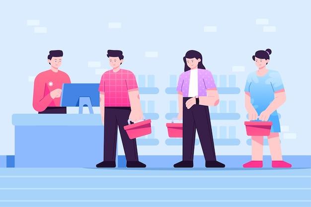 Pessoas que ficam em uma fila no supermercado Vetor grátis
