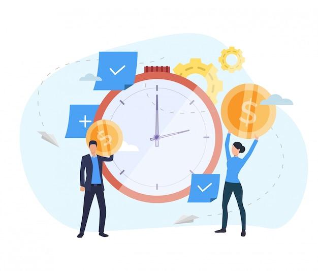 Pessoas que investem dinheiro na página de destino do relógio Vetor grátis