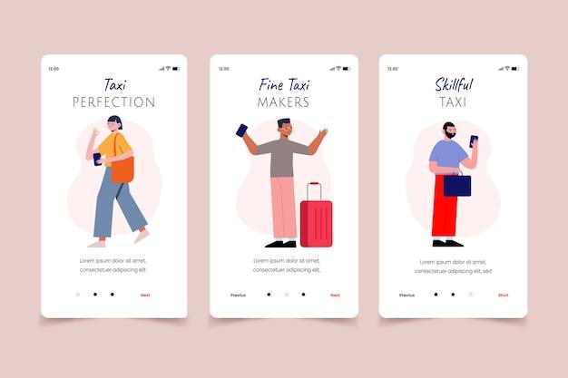 Pessoas que ligam para telas de aplicativos móveis de serviço de táxi Vetor grátis