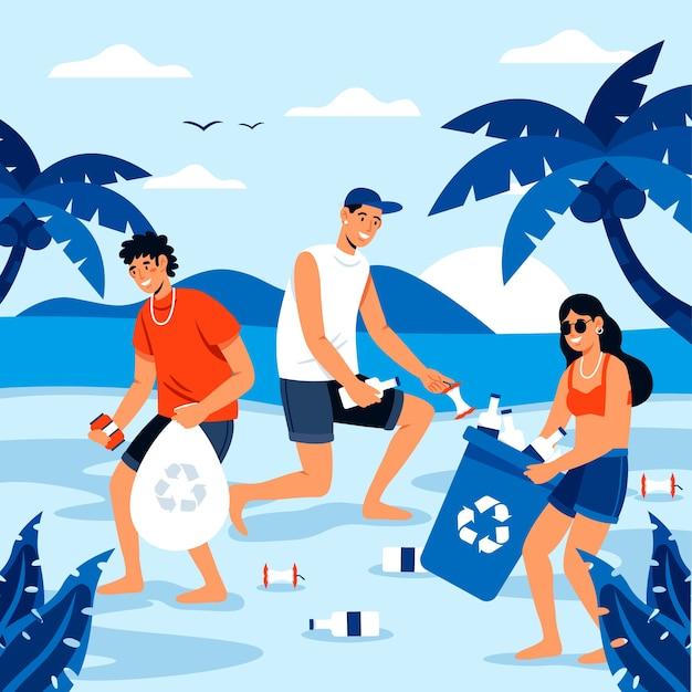 Pessoas que limpam o conceito de praia Vetor grátis