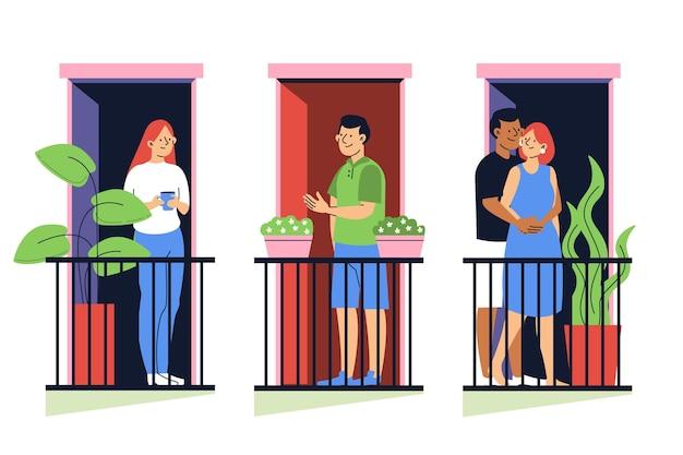 Pessoas que passam o tempo em suas varandas Vetor grátis