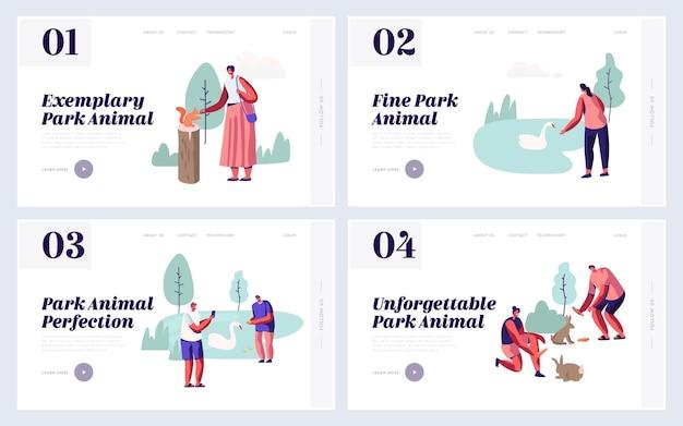 Pessoas que passam tempo no conjunto de páginas de destino do site animal park. lazer no zoológico ao ar livre com animais selvagens, alimentação, brincar, tirar fotos, página da web do sparetime. ilustração em vetor plana dos desenhos animados Vetor Premium