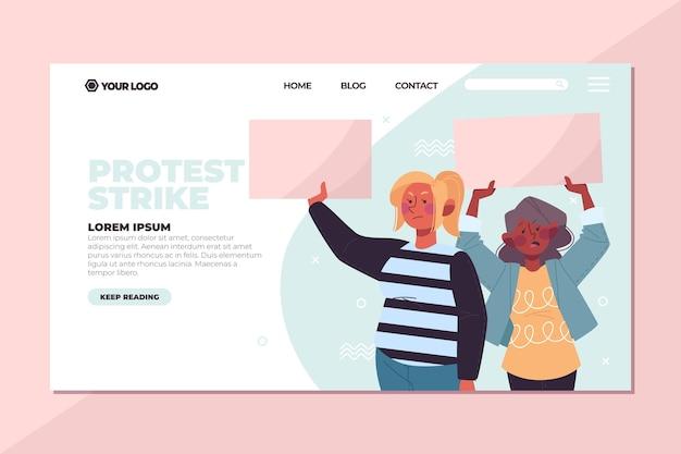 Pessoas que protestam ao ar livre na página de destino Vetor grátis