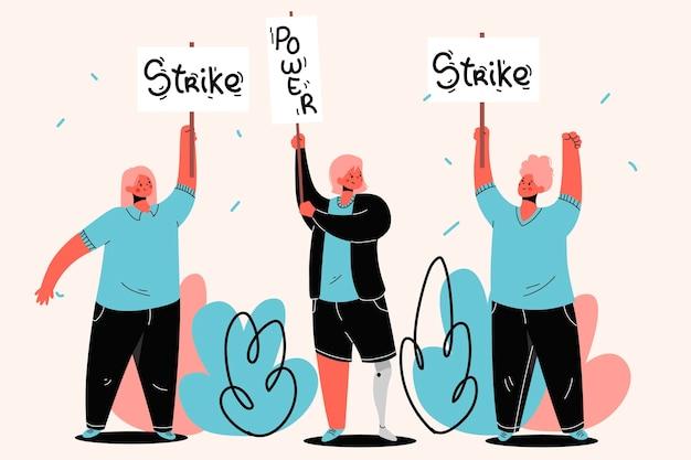 Pessoas que protestam contra greve e protegem Vetor grátis