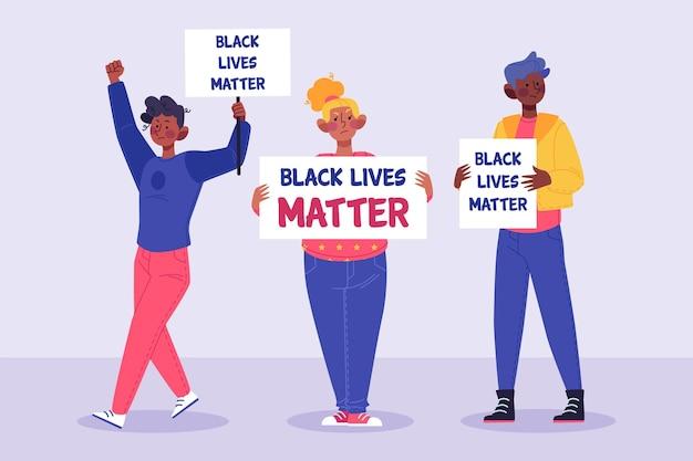 Pessoas que protestam contra o racismo Vetor grátis