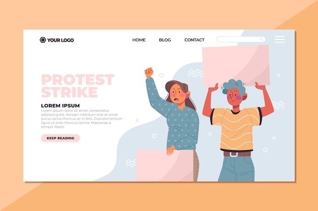 Pessoas que protestavam com cartazes na página de destino Vetor grátis
