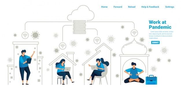 Pessoas que trabalham dentro de suas casas usando a tecnologia de servidor em nuvem e datacenter durante a nova pandemia normal. projeto de ilustração da página inicial, site, aplicativos móveis, cartaz, folheto, banner Vetor Premium